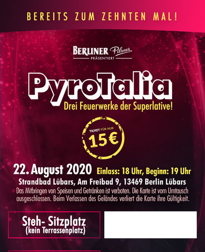 PyroTalia - Ticket // Strandbad Lübars (Steh/Sitplatz, 1 Person) 22. August 2020