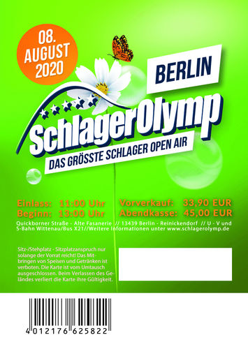SchlagerOlymp Berlin 2020// Ticket // 08.August 2020