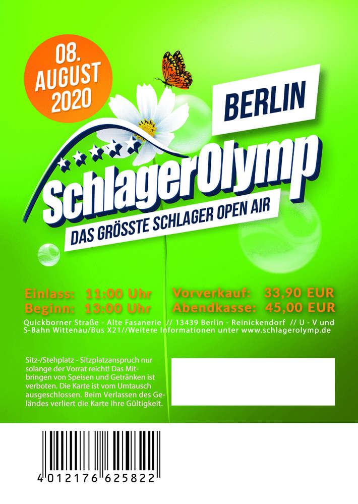 amazing price huge selection of speical offer SchlagerOlymp Berlin 2020// Ticket // 08.August 2020