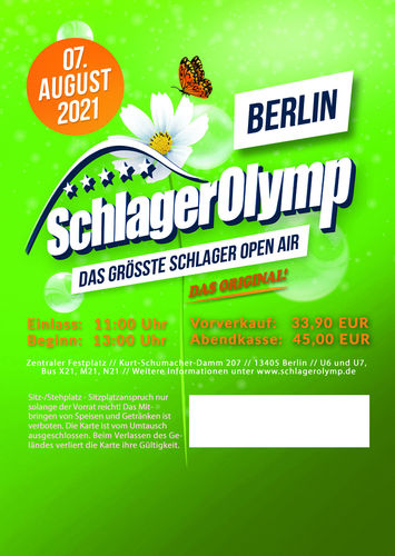SchlagerOlymp Berlin 2021// VERSCHOBEN // Ticket // 07.August 2021