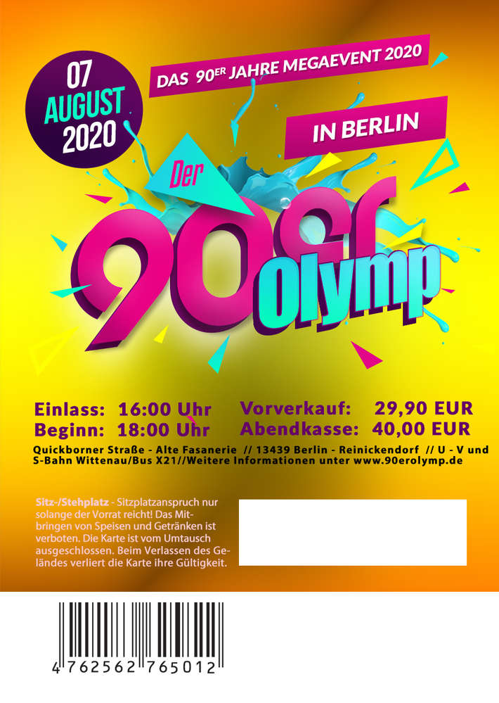 wholesale new collection best website 90er Olymp 2020 // Ticket // 07. August 2020